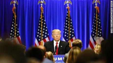 Presumptive Republican presidential nominee Donald Trump speaks at the Trump Soho Hotel in New York on June 22, 2016.