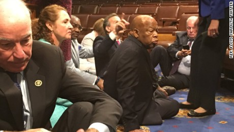 Democrats stage sit-in to urge Congress to support gun control