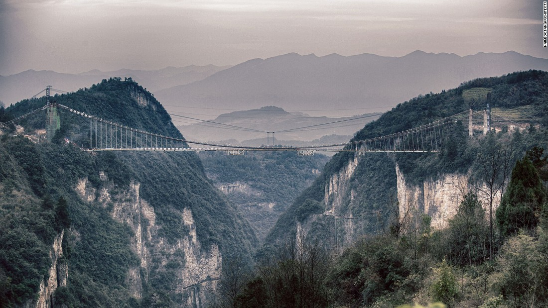 The glass-bottom bridge stretches across two hills and is 300 meters above ground.