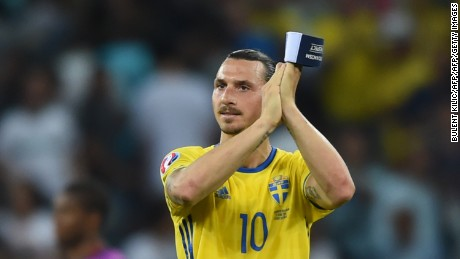Sweden's forward Zlatan Ibrahimovic acknowledges the crowd after Sweden lost 0-1 in the Euro 2016 group E football match between Sweden and Belgium at the Allianz Riviera stadium in Nice on June 22, 2016. / AFP / BULENT KILIC        (Photo credit should read BULENT KILIC/AFP/Getty Images)