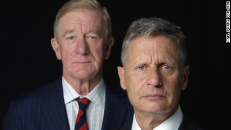 Libertarian Party presidential candidate Gary Johnson, the former governor of New Mexico, and his running mate, former Massachusetts Gov. Bill Weld