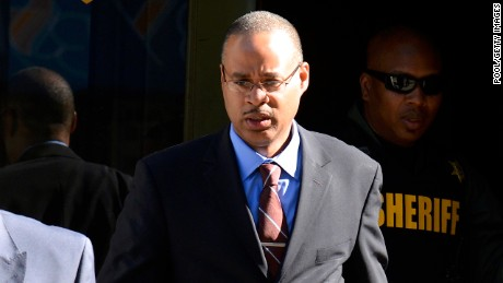 Baltimore police officer Caesar Goodson Jr., exits the Circuit Court on June 9, the first day in the trial in Baltimore, Maryland. Officer Goodson, the van driver in the Freddie Gray case, is facing multiple charges including second-degree murder.