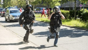 Police respond to the attack in Viernheim.