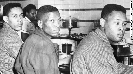 African-American students at North Carolina A&T College participate in a sit-in at a F. W. Woolworth's lunch counter reserved for white customers in Greensboro, North Carolina.