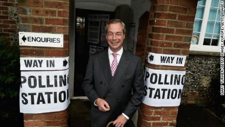 UK Independence Party leader Nigel Farage votes in Westerham, England.