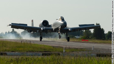 An A-10 Thunderbolt II from the 127th Wing, Michigan Air National Guard, lands on a remote highway strip near Jägala, Estonia after completing a simulated close air support mission in a combined arms live fire exercise during Saber Strike on June 20, 2016. Saber Strike is a long-standing U.S. Army Europe-led cooperative training exercise designed to improve joint interoperability through a range of missions that prepare the 14 participating nations to support multinational contingency operations.