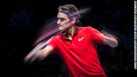 LONDON, ENGLAND - NOVEMBER 11:  Roger Federer of Switzerland in action during the round robin singles match against Kei Nishikori of Japan on day three of the Barclays ATP World Tour Finals at the O2 Arena on November 11, 2014 in London, England.  (Photo by Justin Setterfield/Getty Images)