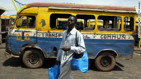 One of the buses at a depot in Dakar. Many of them are old and rundown and unsafe, said Dakar's Executive Council on Urban Transport.