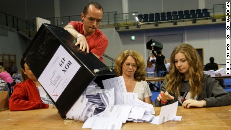 Staff count ballot papers at the Glasgow count centre at the Emirates Arena, Glasgow, Scotland, on June 23, 2016 after polls closed in the referendum on whether the UK will remain or stay in the European Union (EU).  Millions of Britons began voting Thursday in a bitterly-fought, knife-edge referendum that could tear up the island nation's EU membership and spark the greatest emergency of the bloc's 60-year history. / AFP / Robert Perry        (Photo credit should read ROBERT PERRY/AFP/Getty Images)