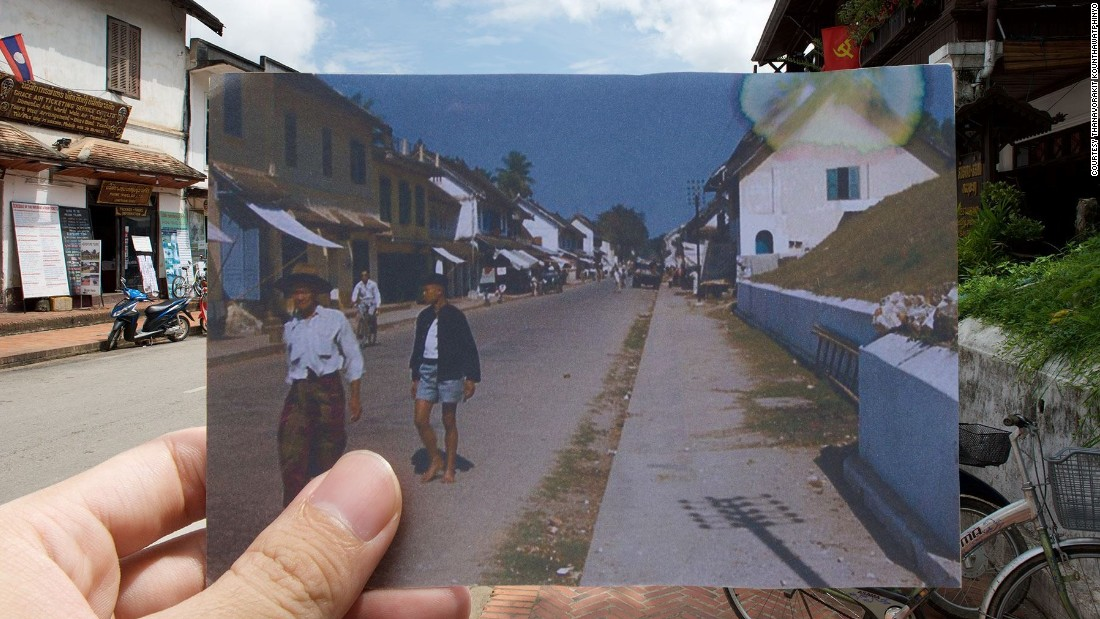 """Nin also tried to create similar images of his home town of  Luang Prabang. """"I couldn't manage to align the past photo properly due to some technical issues,"""" he says."""