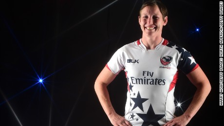 BEVERLY HILLS, CA - MARCH 08:  (EDITORS NOTE: A special effects camera filter was used for this image.)   Rugby player Jillion Potter poses for a portrait at the 2016 Team USA Media Summit at The Beverly Hilton Hotel on March 8, 2016 in Beverly Hills, California.  (Photo by Harry How/Getty Images)