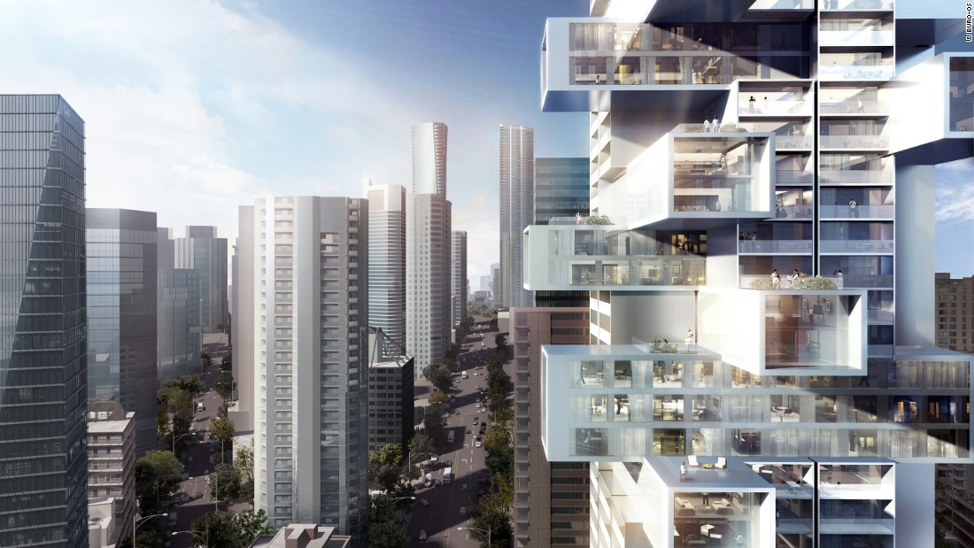 The tower will be built in Vancouver. Its protruding three-dimensional units are intended to maximize views of the water, parks and city.