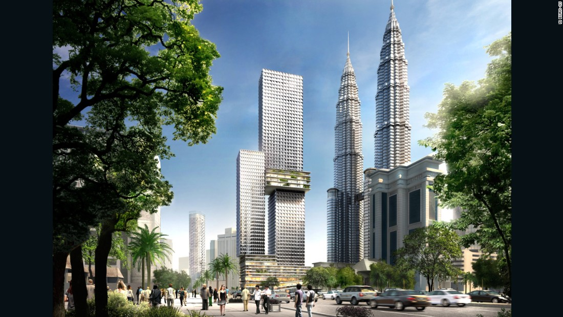 Situated beside the city's famous Petronas Twin Towers, Kuala Lumpur's Angkasa Raya tower will be 268 meters high upon completion and will house a four-story tropical garden in its middle.