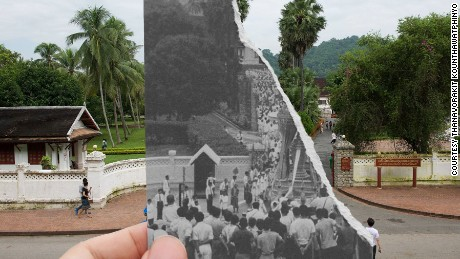 """The entrance of the Royal Palace, Luang Prabang, during the funeral of Laotian King Sisavong Vong in 1959. """"Nowadays we don't have kings anymore, just a lot of tourists,"""" says Kounthawatphinyo."""