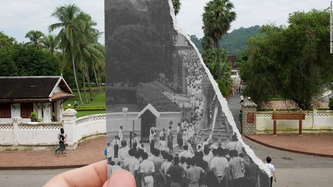 """The entrance of the Royal Palace, Luang Prabang, during the funeral of Laotian King Sisavong Vong in 1959. """"Nowadays we don't have kings anymore, just a lot of tourists,"""" says Nin."""