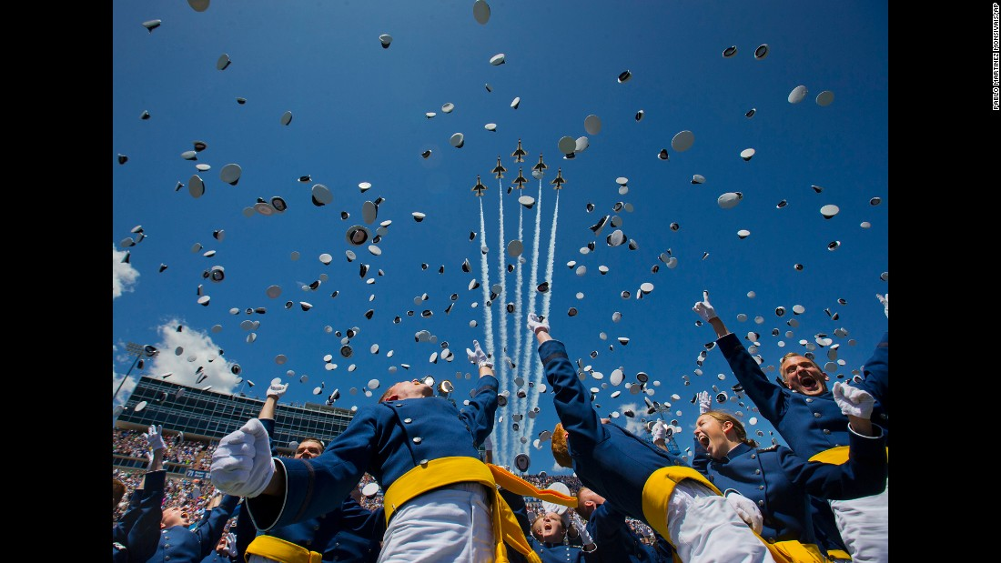 "The U.S. Air Force Thunderbirds fly overhead as cadets graduate from the U.S. Air Force Academy on Thursday, June 2. <a href=""http://www.cnn.com/2016/06/02/politics/military-plane-crash/"" target=""_blank"">One of the Thunderbirds crashed</a> shortly after the flyover."