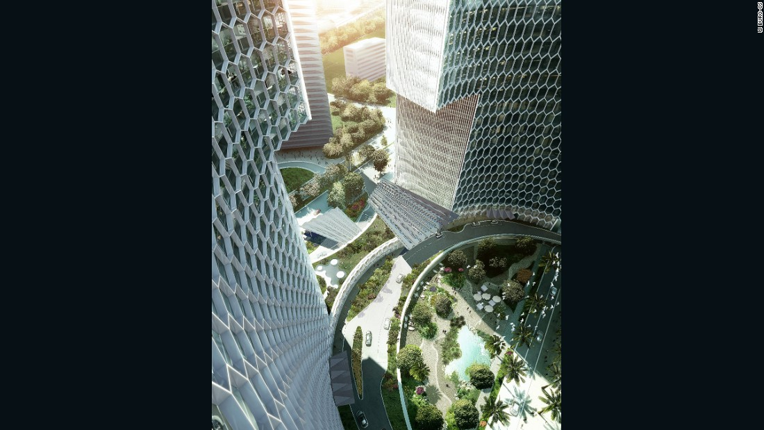 """The two towers create a """"civic nucleus"""" in the center of the development that connects Singapore's commercial corridor to the city's   historic Kampong Glam district."""