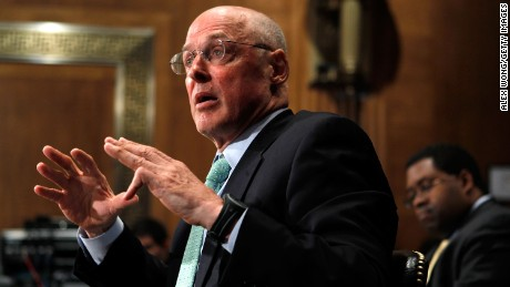 Former U.S. Treasury Secretary Henry Paulson testifies during a hearing before the Financial Crisis Inquiry Commission May 6, 2010 on Capitol Hill in Washington, DC.