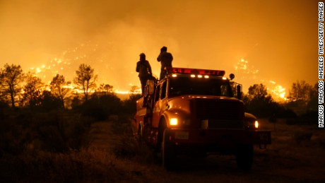Firefighters pay close attention to the wildfire coming at every direction in Kelso Valley near Lake Isabella, California, on June 24.