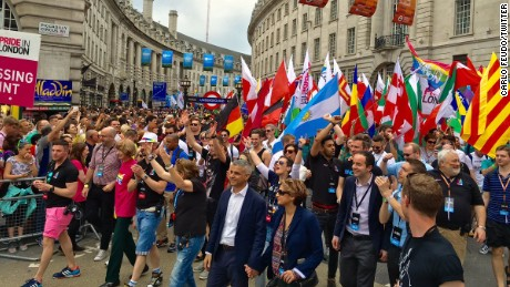 Londoners celebrate Pride after a shocking EU referendum vote. Carlo Feudo captured this photo the of London Mayor opening the parade.