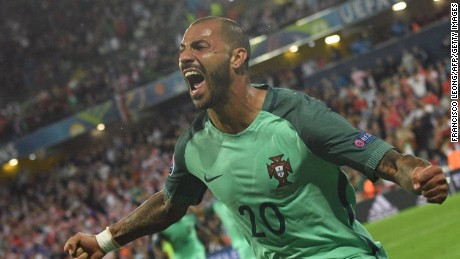 Portugal's Ricardo Quaresma celebrates after the late winner against Croatia in Lens.