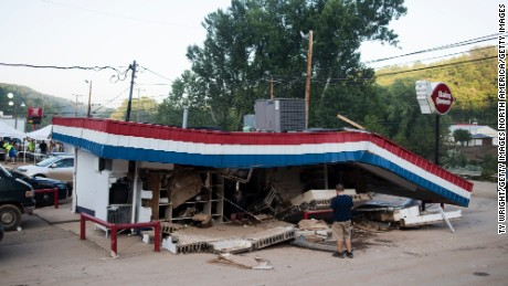 The deadly Elk River flooding damaged and destroyed several structures in Clendenin, West Virginia, including a local Dairy Queen.