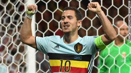 Belgium's forward Eden Hazard celebrates after scoring his team's third goal during the Euro 2016 round of 16 football match between Hungary and Belgium at the Stadium Municipal in Toulouse on June 26, 2016.   / AFP / PASCAL GUYOT        (Photo credit should read PASCAL GUYOT/AFP/Getty Images)