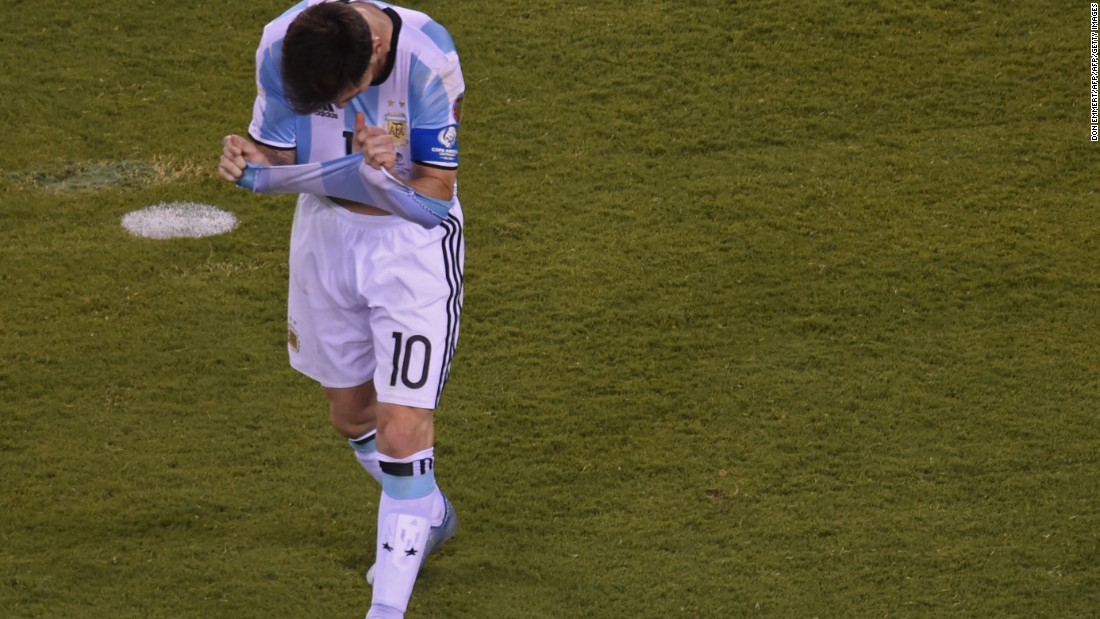 Argentina's Lionel Messi gestures after missing his shot during the penalty shoot-out.