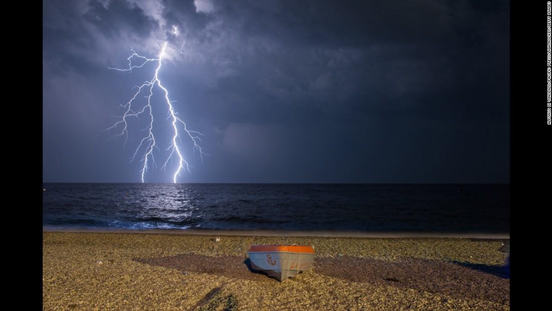 Lightning strikes the Ionian Sea on Friday, June 24, near the Italian regions of Calabria and Basilicata.