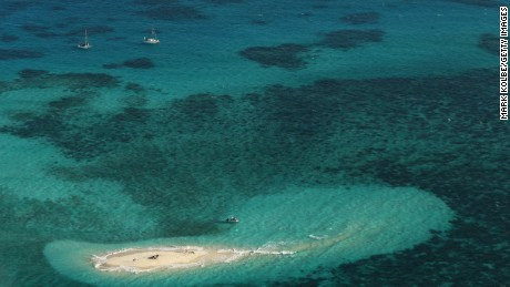 An aerial view of Vlassof Cay in the Great Barrier Reef.
