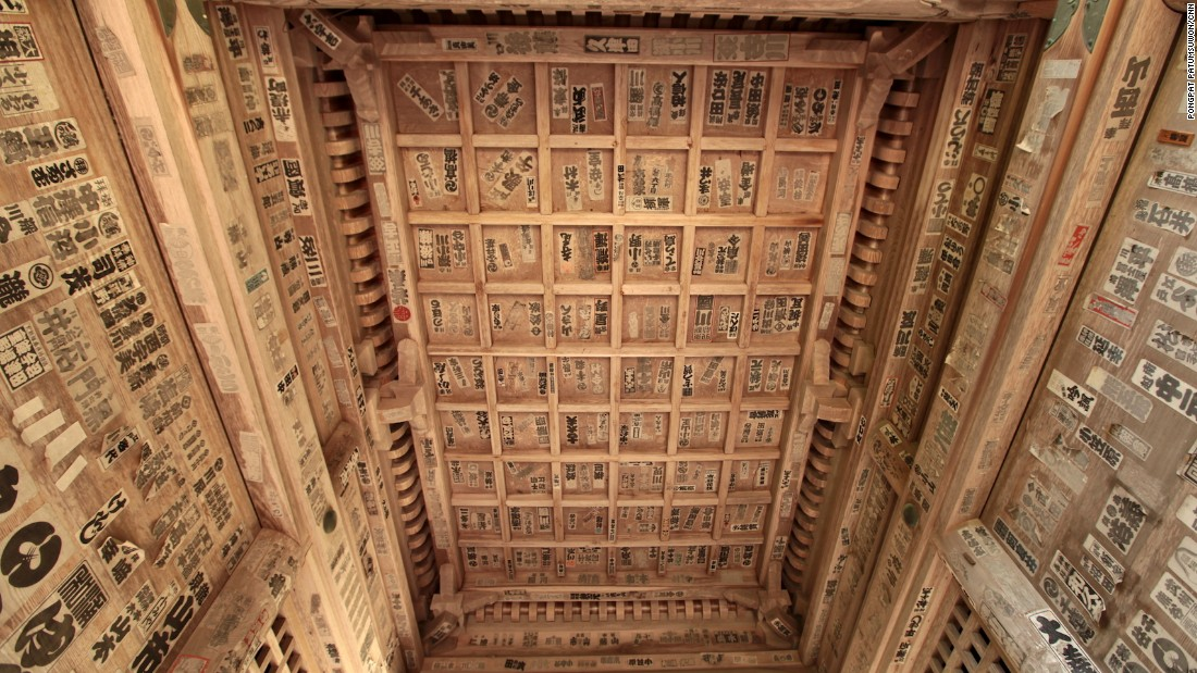 "The ceilings of some Yamadera sites are covered in senjafuda stickers, which translates to ""thousand shrine tags."" The tags bear the names of visitors and are said to bring luck."