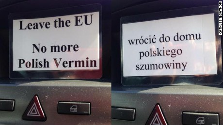 Photos of a racially abusive message, in Polish and English, distributed in Huntingdon, Cambridgeshire, on Friday June 24.