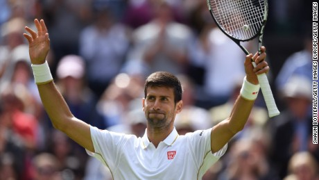 LONDON, ENGLAND - JUNE 27:  Novak Djokovic of Serbia celebrates victory following the Men's Singles first round match against James Ward of Great Britain on day one of the Wimbledon Lawn Tennis Championships at the All England Lawn Tennis and Croquet Club on June 27th, 2016 in London, England.  (Photo by Shaun Botterill/Getty Images)