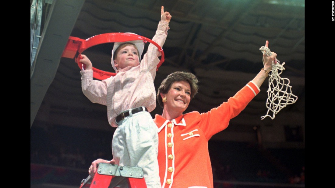 "Pat Summitt, the legendary former coach of the University of Tennessee Lady Vols basketball team, died on Tuesday, June 28, due to complications of early onset dementia, ""Alzheimer's type,"" according to the Pat Summitt foundation. She was 64. Above, Summitt and her son Tyler celebrate winning the Women's Final Four championship in March 1996."