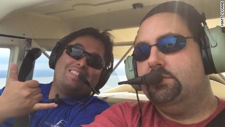 Certified flight instructor Etian Contreras, left, helps Matt Sloane earn a light sport pilot license in 12 days.