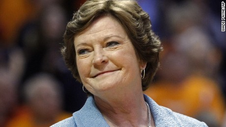 FILE - In this Jan. 28, 2013, file photo, Tennessee head coach emeritus Pat Summitt smiles as a banner is raised in her honor before an NCAA college basketball game against Notre Dame in Knoxville, Tenn. Tennessee seniors Cierra Burdick and Ariel Massengale were part of the last class of Lady Vols to play for Pat Summitt. Now they're eager to end their careers by leading Tennessee to its first Final Four appearance since its 2008 national title.  (AP Photo/Wade Payne, File)