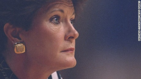 28 Jan 1996:  University of Tennessee head coach Pat Summitt looks on during a game against Alabama played in Knoxville, Tennessee.  Tennessee won the game, 81-69. Mandatory Credit: Matthew Stockman  /Allsport