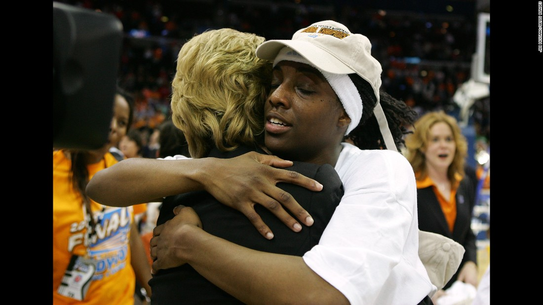 Tennessee Lady Vols player Alberta Auguste hugs head coach Pat Summitt as they celebrate their 59-46 victory against the Rutgers Scarlet Knights to win the 2007 NCAA Women's Basketball Championship Game on April 3, 2007 in Cleveland, Ohio.
