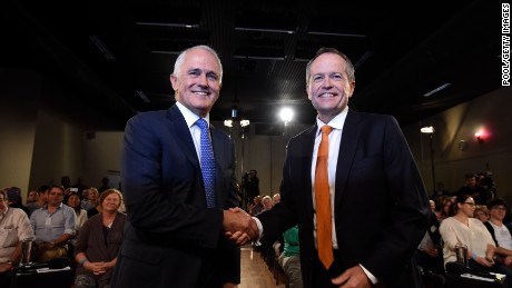 SYDNEY, AUSTRALIA - MAY 13:  Leader of the Opposition Bill Shorten and Prime Minister Malcolm Turnbull shake hands before a Leaders Forum at Windsor RSL as part of the 2016 election campaign on May 13, 2016 in Sydney, Australia. The debate was the first of the election campaign.  (Photo by Mick Tsikas - Pool/Getty Images)