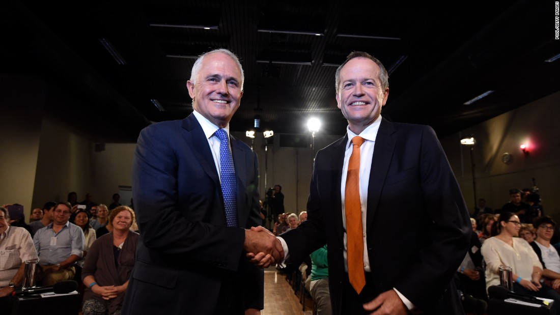 Prime Minister Malcolm Turnbull (left) was attempting to defend his majority against Labor party leader Bill Shorten (right), who was tied with him in polling before the vote.