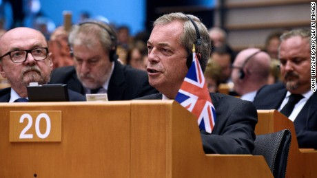 United Kingdom Independence Party leader Nigel Farage in Brussels Tuesday.