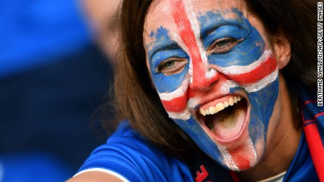 An Iceland supporter cheers prior to the match with England. Iceland won 2-1 and is having a stellar run in the Euro 2016 Tournament.
