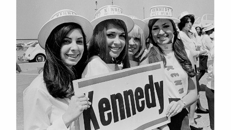 CALIFORNIA, LOS ANGELES - 1968:  A group of Robert F. Kennedy (RFK) supporters 1968 in Los Angeles, California.  (Photo by David Hume Kennerly/Getty Images)