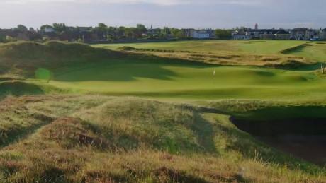 The sun rises above Prestwick Golf Club on the west coast of Scotland.
