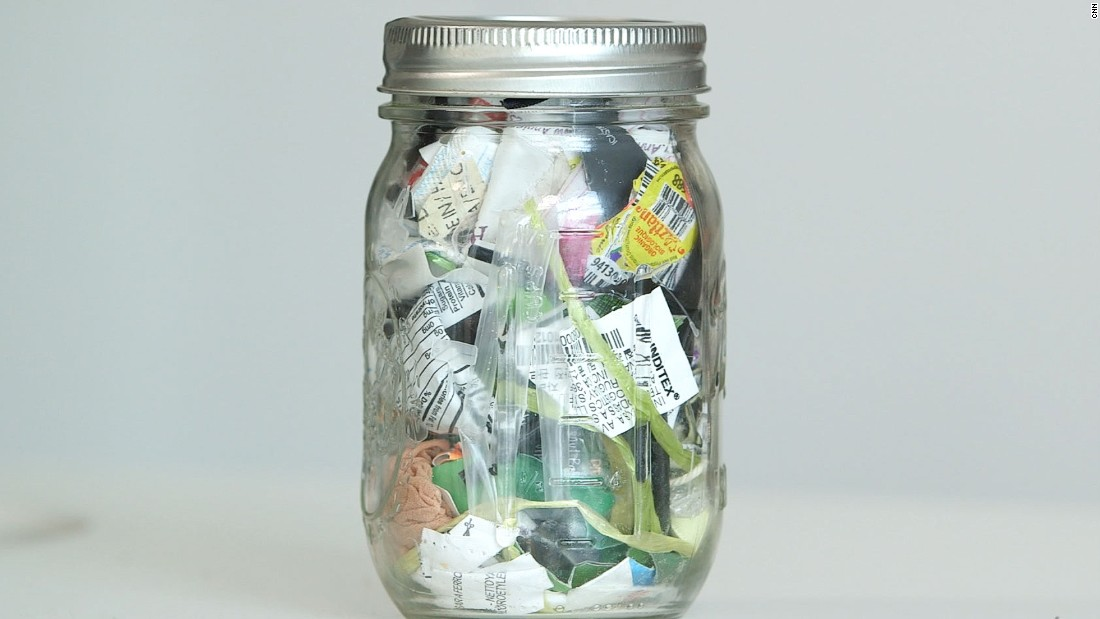 """Lauren Singer started living a zero-waste lifestyle in 2012. This jar holds everything she hasn't been able to reuse or recycle for the past four years. The New Yorker set up <a href=""""http://www.thesimplyco.com/"""" target=""""_blank"""">www.thesimplyco.com</a> and her <a href=""""http://www.trashisfortossers.com"""" target=""""_blank"""">blog</a> to help spread the zero waste message."""
