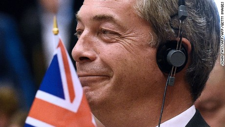 United Kingdom Independence Party (UKIP) leader Nigel Farage looks during a meeting with European Union (EU) Commission President Jean-Claude Juncker at the EU headquarters in Brussels on June 28, 2016 ahead of a plenary session. European Commission chief Jean-Claude Juncker called on June 28 on Prime Minister David Cameron to clarify quickly when Britain intends to leave the EU, saying there can be no negotiation on future ties before London formally applies to exit. European leaders gather in Brussels for a crunch two-day summit set to be dominated by Britain's departure from the bloc following its shock referendum last week. / AFP PHOTO / JOHN THYSJOHN THYS/AFP/Getty Images