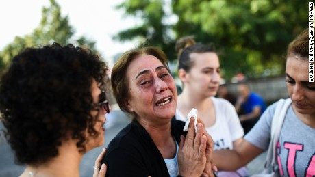 A mother of victims killed the day before in a suicide bombing and gun attack at Istanbul's airport, cries on June 29, 2016 in Istanbul. A triple suicide bombing and gun attack that occurred on June 28, 2016 at Istanbul's Ataturk airport has killed at least 36 people, including foreigners, with Turkey's prime minister saying early signs pointed to an assault by the Islamic State group. / AFP / BULENT KILIC        (Photo credit should read BULENT KILIC/AFP/Getty Images)