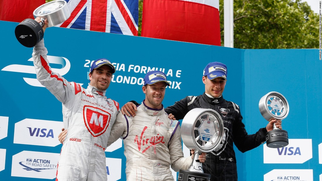 Last year's top three, Sam Bird (centre), Jerome d'Ambrosio (left) and Loic Duval (right) celebrate on the podium at Battersea Park. Who will be this year's winner?