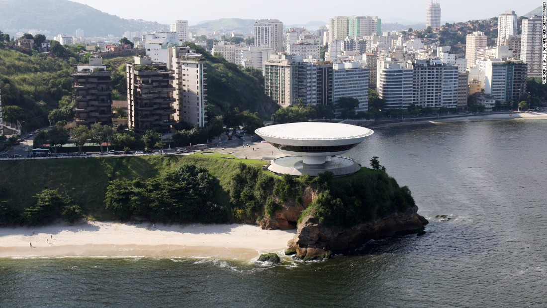 The late Oscar Niemeyer, one of the world's great architects, was born in Rio. His Museum of Contemporary Art (center) is one of Rio state's best-known landmarks, lying across the bay from the city center.    <br />