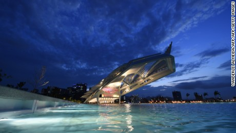 View of Tomorrow's Museum, designed by Spanish architect Santiago Calatrava, in Rio de Janeiro, Brazil on December 17, 2015. The museum was inaugurated Thursday by Brazilian President Dilma Rousseff as part of a revitalization program for the Rio 2016 Olympic Games.   AFP PHOTO/ VANDERLEI ALMEIDA / AFP / VANDERLEI ALMEIDA        (Photo credit should read VANDERLEI ALMEIDA/AFP/Getty Images)